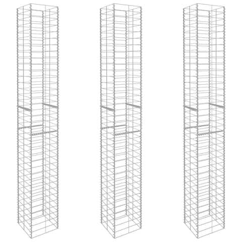 "vidaXL Gabion Baskets 3 pcs Galvanised Steel 9.8""x9.8""x77.6"""
