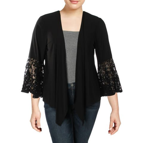 R&M Richards Womens Plus Jacket Lace-Trim Bell Sleeves