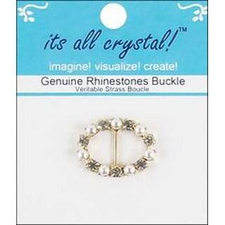 Gold & Pearl - Oval - Vision Trims Genuine Rhinestone Buckle 28Mm
