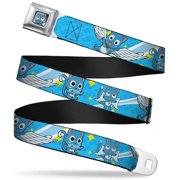 Happy Face Smiling Full Color Gray Fade 3 Happy Poses Fish Monogram Stars Seatbelt Belt