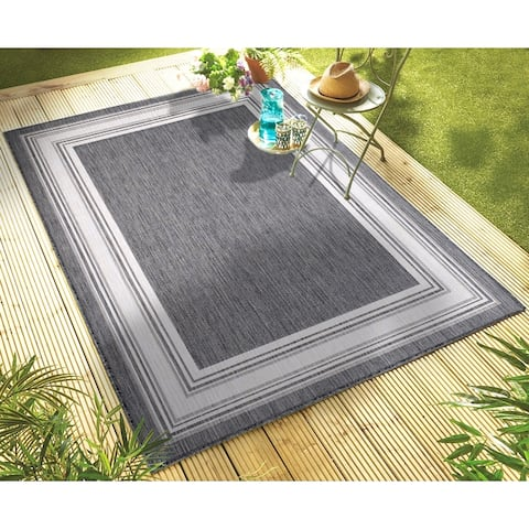 Framing Striped Bordered Indoor Outdoor Rug