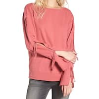 Hinge Salmon Women's Tie Sleeve Pullover Sweater $25