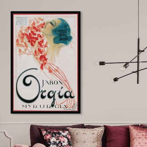 Oliver Gal 'Orgia Vintage Soap Ad' Advertising Framed Wall Art Prints Posters - Red, White