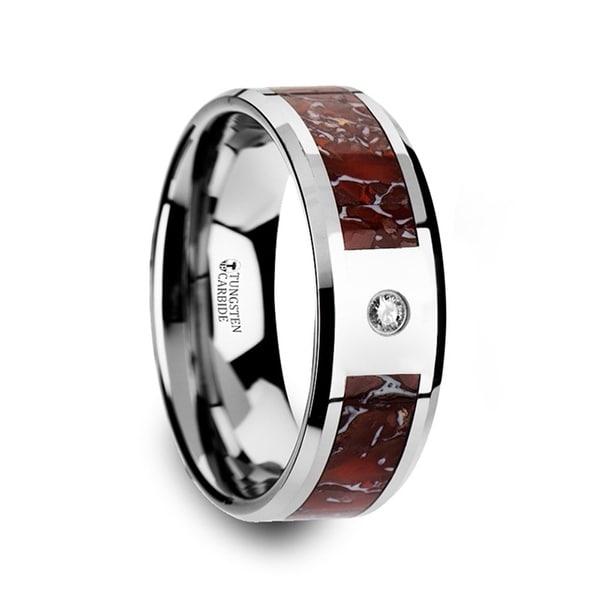 Red Dinosaur Bone Inlaid Tungsten Carbide Diamond Wedding Band With Beveled Edges