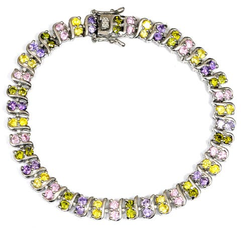 Purple Cubic Zirconia Sterling Silver Round Beaded Bracelet by Orchid Jewelry