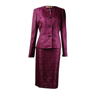 Kasper Women's Metallic Jacquard Skirt Suit (4, Cerise Multi) - 4