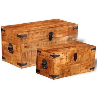 vidaxl storage chest set 2 pieces rough mango wood brown - Storage Chest Trunk