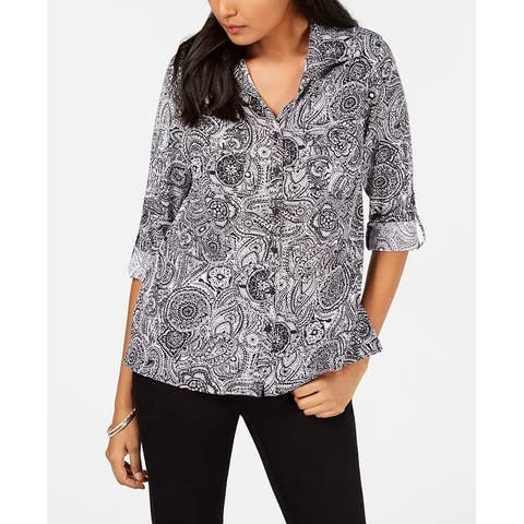 NY Collection Women's Printed Utility Shirt Black Size Petite Small - Petite Small