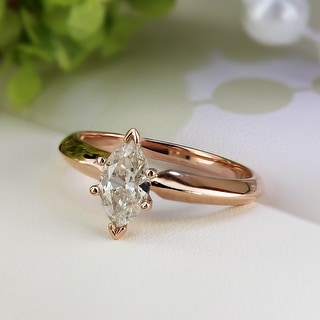 Auriya 14k Rose Gold 1/2ctw Marquise-cut Solitaire Diamond Engagement Ring