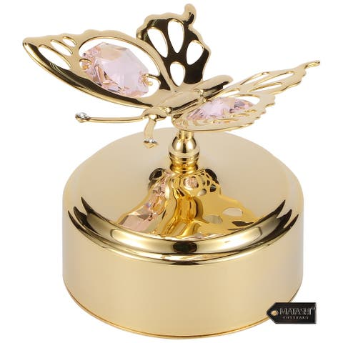 Goldplated Matashi Crystals Butterfly Music Box