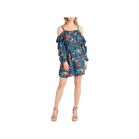 Jessica Simpson Womens Bella Casual Dress Cold Shoulder Floral Print