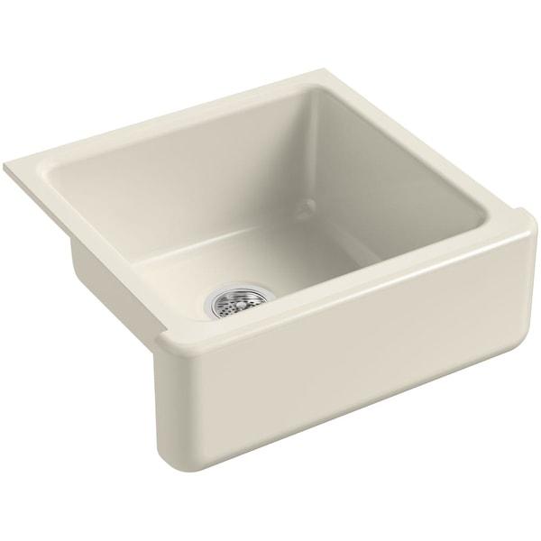 "Kohler K-5665 Whitehaven 23-1/2"" Single Basin Under-Mount Tall Apron Front Cast Iron Kitchen Sink - White"