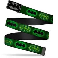 Batman Reverse Brushed Black Silver Black Chrome Clover Bat Shields Web Belt