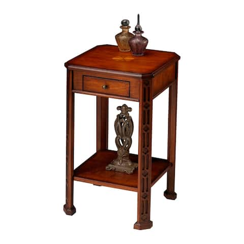 Solid Wood Distressed Accent Table in Olive Ash Burl Finish
