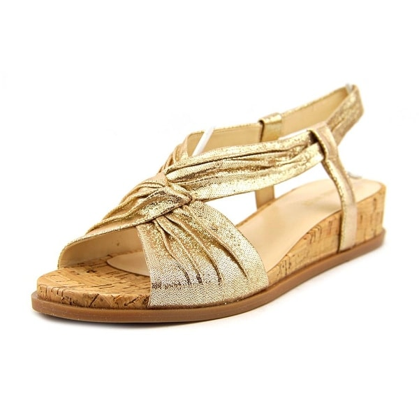 Nine West Manwella Open Toe Leather Wedge Sandal
