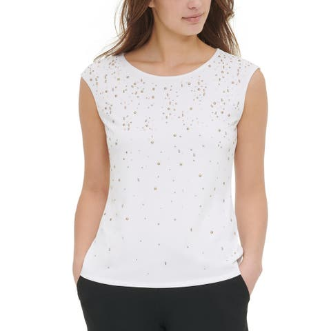 Calvin Klein Womens Top Embellished Sleeveless - Soft White