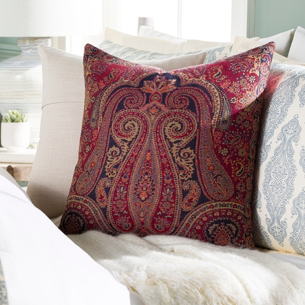 Sima Traditional Paisley Jacquard 20-inch Throw Pillow. Opens flyout.