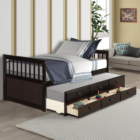 Captain's Bed Twin Daybed with Trundle Bed and Storage Drawers