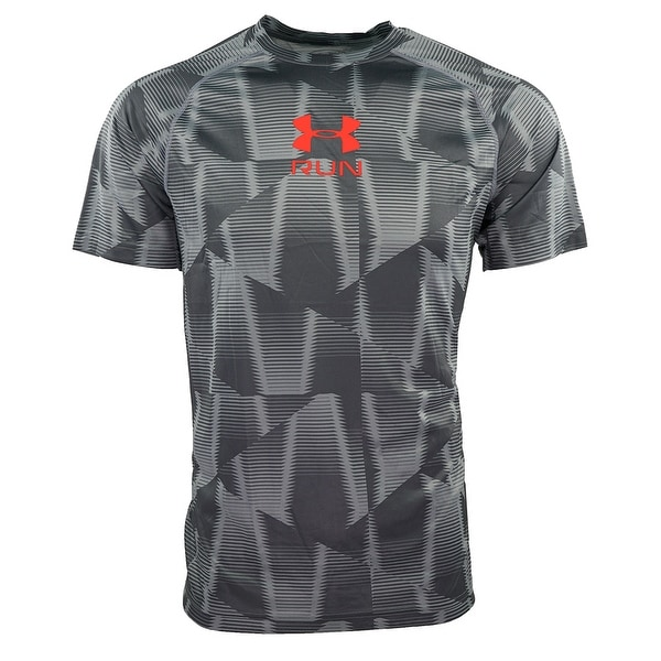 104f1a36 Shop Under Armour Men's Tech Run T-Shirt - steel pattern/orange - L - Free  Shipping On Orders Over $45 - Overstock - 25438234