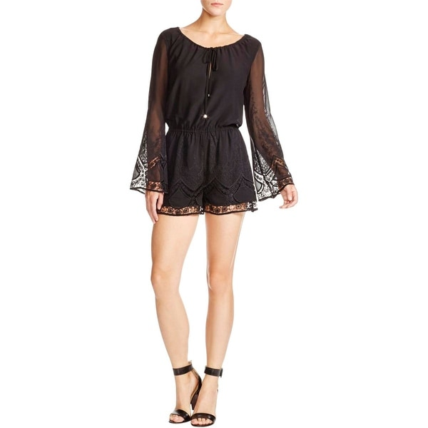 Lucy Paris Womens Romper Lace Trim Embroidered