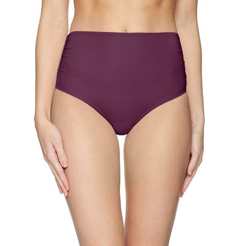 Anne Cole Purple Womens Size Large L High-Waist Bikini Bottom