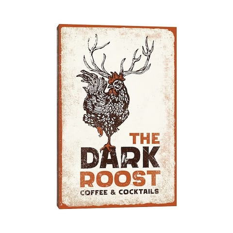 """iCanvas """"Dark Rooster Burnt Orange"""" by The Whiskey Ginger Canvas Print"""