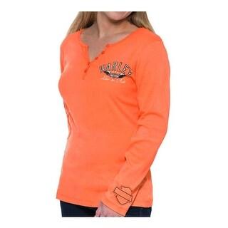 Harley-Davidson Women's Full Throttle Long Sleeve Henley Shirt, Bright Orange
