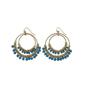 Kenneth Jay Lane Womens Dangle Earring Double Hoop Fashion - gold/turquoise