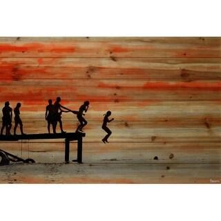 """Parvez Taj PT-BCNA-03-BDW-45 30 Inch x 45 Inch """"Caught Ya"""" Art Print on Natural Pine Wood - 30 x 45"""