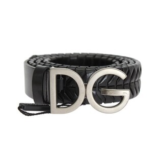 Dolce & Gabbana Black Leather Silver Buckle Belt - 95-cm-38-inches