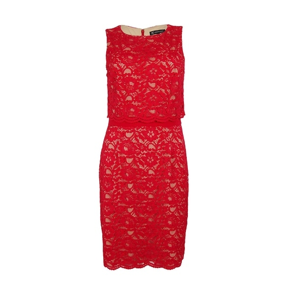 INC International Concepts Women's Lace Popover Sheath Dress - Holiday Red
