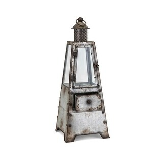 "IMAX Home 26828  Hattie 9"" Wide Iron Lantern Style Candle Holder - Gray"