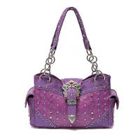 Jeweled Buckle Studded Front Concealed Carry Purse