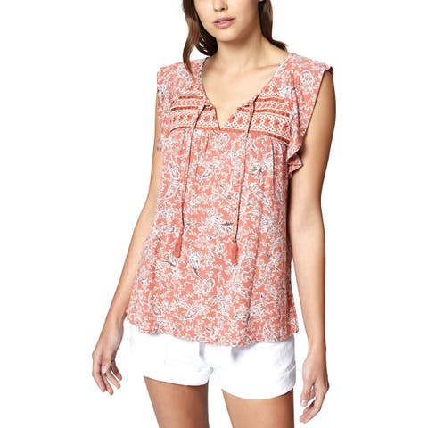 Sanctuary Womens Wild Belle Peasant Top Paisley Embroidered