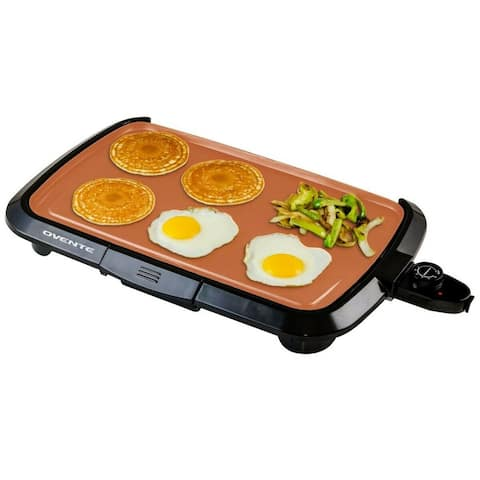 Ovente Electric Indoor Kitchen Griddle 16 x 10 Inch Nonstick Flat Cast Iron Grilling Plate, Copper GD1610CO