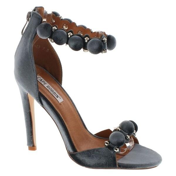 Cape Robin Alza-45 Women Velvet Pom Pom Stiletto Sandal Ankle Strap Sandal