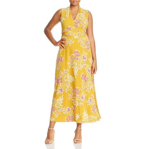 Vince Camuto Womens Plus Maxi Dress Gathered V-Neck - Amber Sun - 1X