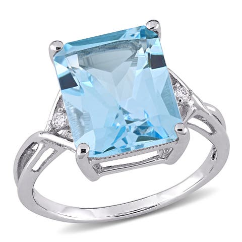 Miadora Sterling Silver 7 1/2ct TGW Octagon-cut Blue and White Topaz 3-stone Cocktail Ring