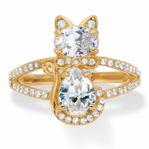 Yellow Gold Plated Oval and Pear Cut Cubic Zirconia Cat Cocktail Ring - White