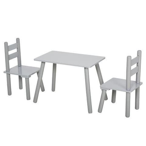 Qaba 3-Piece Set Kids Wooden Table Chairs Easy to Clean Gift for Boys Girls Toddlers Age 3 to 8 Years Old