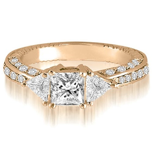 1.30 cttw. 14K Rose Gold Princess And Trillion Diamond 3-Stone Engagement Ring