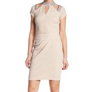 Marina Womens Embellished Cutout Ruched Sheath Dress