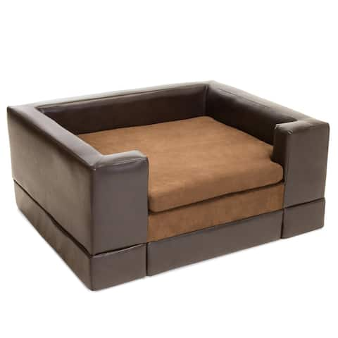 """37.75"""" Chocolate Brown Contemporary Upholstered Rectangular Outdoor Dog Sofa Bed"""