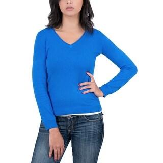 RC Cashmere Blend Cobalt Blue Womens V-Neck Sweater