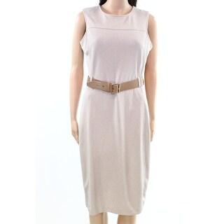 Calvin Klein Womens Belted Scuba Crepe Sheath Dress