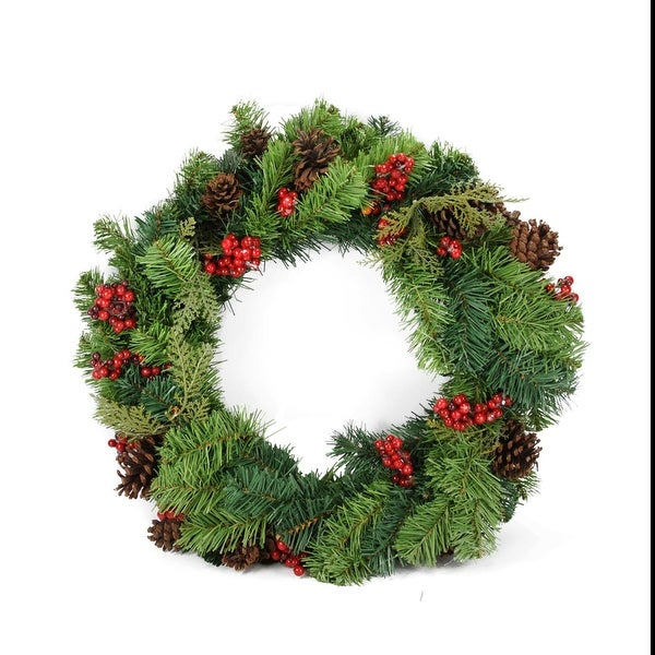 """24"""" Red Berry and Pine Cone Artificial Christmas Wreath - Unlit - green"""