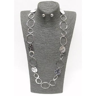 Textured Metal Necklace and Earring Set
