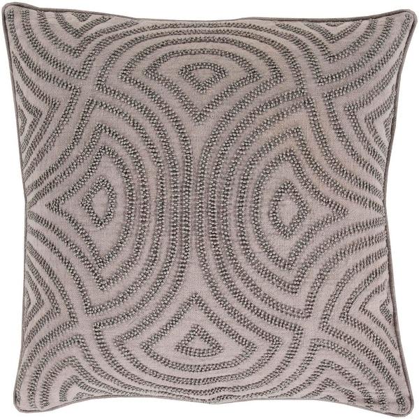 "20"" Deep Waves Light Gray and Dark Gray Decorative Beaded Throw Pillow"