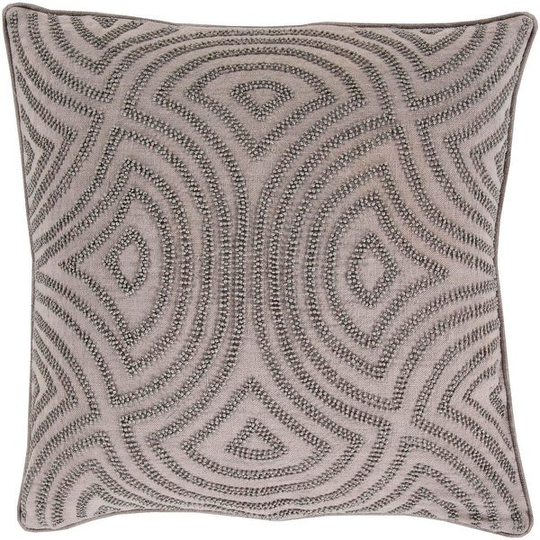 "22"" Deep Waves Light Gray and Dark Gray Decorative Beaded Throw Pillow - Down Filler"