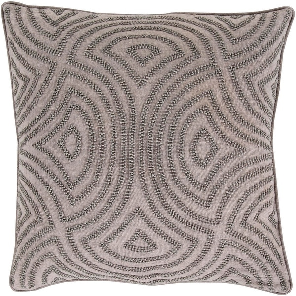 "22"" Deep Waves Light Gray and Dark Gray Decorative Beaded Throw Pillow"